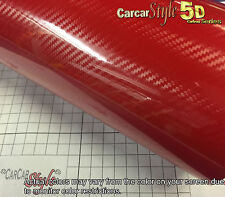 5D Red Ultra Gloss 1520mm(59in) x 300mm(11.8in) Carbon Fibre Vinyl Wrap Sticker