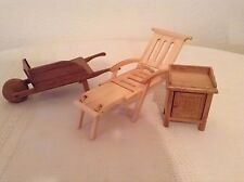 Dollhouse Miniature wooden furniture chaise lounge,  wheelbarrow,  end table