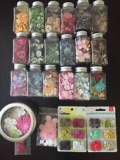 Embellishment Lot - 21 Buttons And Prima Flowers With Storage Containers!