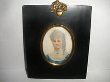 Antique beautiful woman  portrait miniature oil painting
