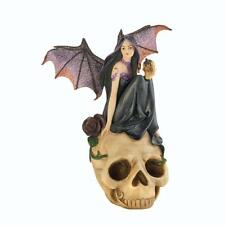 Medieval Wing Fairy Sits on Skull Mythical Fantasy Figure Figurine Statue SALE