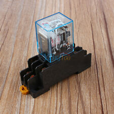 New AC 220V Coil Power Relay 10A DPDT LY2NJ HH62P HHC68A-2Z With Socket Base