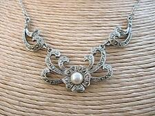 Dainty Vintage Marcasite Open Work Flower & Faux Pearl Necklace
