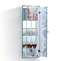 HOMCOM 3 Shelves Glass Cabinet Mirror Bathroom Door Storage Shelving Transparent