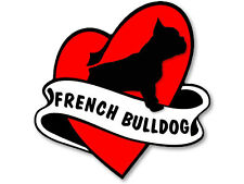 4x4 inch Heart & Banner Shaped FRENCH BULLDOG Sticker - dog frenchie funny love
