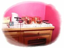 1/12th Dolls House Miniature Set of Copper Saucepans Casserole Frying Pan NEW