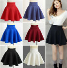 Sexy Mini Short Skirt High Waist Skater A-Line Jersey Plain Flared Pleated Dress