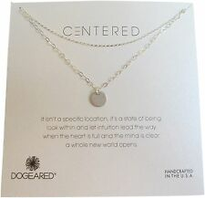 "Dogeared Sterling Silver Centered Medium Circle Double Chain Box 18"" Necklace"