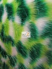 FAUX FAKE FUR 3 TONE RAINBOW SHINY TINSEL LONG PILE FABRIC Lime/Green/White 60""