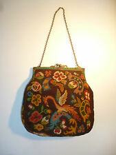 VINTAGE ANTIQUE HANDBAG TAPESTRY PHOENIX JEWELLED CLASP BRASS CHAIN NEEDLEPOINT