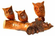 Handmade Wooden Owls Carved into Log, Rustic Bird, Cabin Woodland Garden Decor