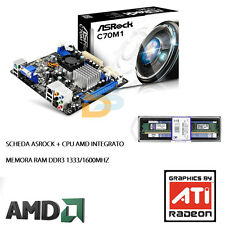 KIT SCHEDA MADRE + CPU PROCESSORE AMD + RAM 4GB DDR3 1333/1600 UPGRADE MINI ITX