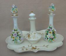 3 ANTIQUE LIMOGES PARIS PORCELAIN FLOWER ENCRUSTED SCENT PERFUME BOTTLES & TRAY