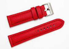 18 mm Red Carbon Fiber Style Leather Watch Band Strap Red Stitch