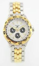 Fossil Men's White Stainless Steel Silver Gold Day Date 50M Quartz Sport Watch