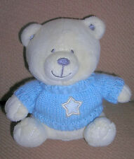 the  CHILDRENS PLACE  plush CREAM TAN BEAR with RATTLE   in  BLUE SWEATER