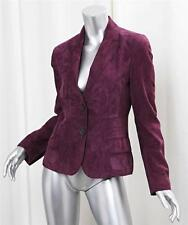 AKRIS Plum Purple Suede Leather Blazer Jacket Coat sz.6-38