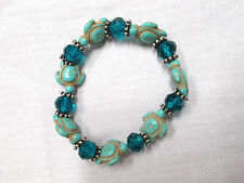 TURQUOISE BLUE HOWLITE HONU SEA TURTLE & CRYSTAL BEADED STRETCH BRACELET 7 - 8""