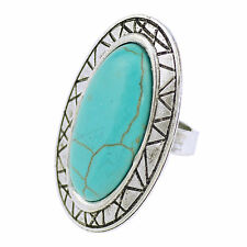 Fashion Bridal Oval Nature Turquoise Smoky Tibetan Silver Finger Cocktail Ring