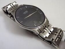 Citizen Ecodrive Stiletto super slim Vestido de Dial Negro Pulsera Reloj AR3010-57E