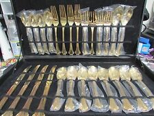 FB ROGERS GOLD PLATED FLATWARE 26 PIECES AMERICAN CHIPPENDALE WITH CASE