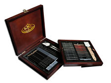 ARTIST PREMIER DELUXE GRAPHITE CHARCOAL PENCIL SKETCHING WOODEN CASE SET SKT1600