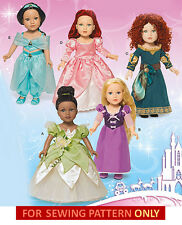 SEWING PATTERN! MAKE DOLL COSTUME~FIT AMERICAN GIRL! TIANA~RAPUNZEL~MERIDA~ARIEL