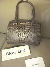 nwt brahmin small alice pewter melbourne  croco leather shoulder tote
