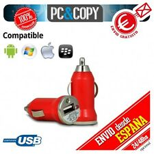 Cargador mini mechero coche USB 1A para movil tablet rojo car 12-24v 1000mA