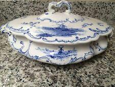 Vintage Ridgways England Blue Holland Porcelain Delft Oval Covered Serving Bowl