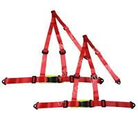 NEW PAIR RED 3 POINT RACING SEAT BELT HARNESS FOR CAR/TRACK DAY/OFF ROAD BUGGY
