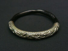 Rare Antique Black Coral Chinese Silver Repousse Bamboo Rattan Bracelet