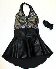 New Competition Skating Dress Elite Xpression Black Foil Silver Sequins CL 10-12