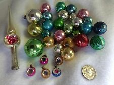 31 Miniature Mercury Glass Christmas Ornaments Shiny Bright Feather Tree + Top