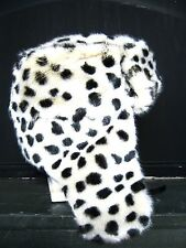 faux fur black and white spot leopard  Ear Flaps aviator Trapper  Ski hat snow