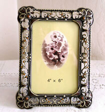 Solid Brass Picture Frame, Crystal Enamel  4x6  GOLDS/BROWNS
