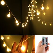[Remote & Timer] 50 LED Outdoor Globe String Lights 8 Modes Battery Operated
