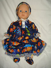 "Navy Seaside design Handmade Dress & Booties. Fit Baby Born/Annabell16/18"" Doll"