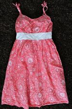 Childrens Place Girls 8 Pink White Print Sun Dress Sundress Spaghetti Straps
