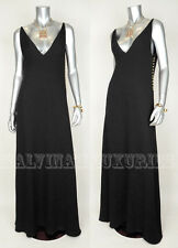 $2,900 GUCCI GOWN BLACK FULL LENGTH SILK DRESS GOLDTONE DETAIL sz IT 42 US 6