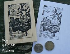 P91 Vintage Halloween card rubber stamp Cling Mounted