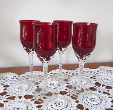 SET OF 4 X VINTAGE RUBY RED LONG TWISTED STEM SHERRY GLASSES HAND BLOWN