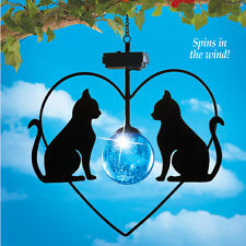 BLUE SOLAR POWER LIGHTED CAT WIND SPINNER OUTDOOR HANGING TREE PORCH HOME ACCENT