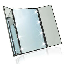 Travel Mirror Compact Pocket Mirror Tri-Fold Lighted Led Mirror Beauty Makeup