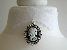 Gothic White Lace Cameo Skull Bride Zombie Choker Necklace