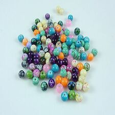 New 50PCS 6mm Floral Ink Printing Glass Crystal Spacer Beads Jewelry mix