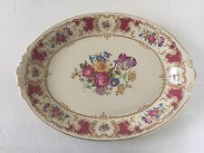 "Syracuse China Old Ivory ROMANCE MAROON Flower Floral - 16"" OVAL SERVING PLATTER"