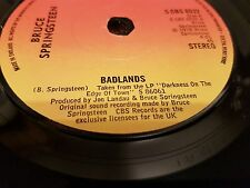 "BRUCE SPRINGSTEEN BADLANDS/SOMETHING IN THE NIGHT UK 7"" VINYL 1978 NM A1/B1"