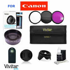 58MM 2X Telephoto Zoom Lens + FILTERS FOR CANON EOS REBEL T3 T3I T5 FAST SHIPP