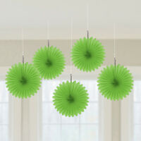 5 Green paper fans hanging decorations Hawaiian wedding st paddys Party FREE P&P